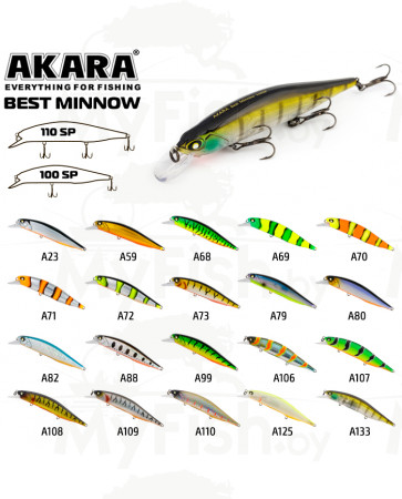 Воблер Akara Best Minnow 100SP 15 гр. (9/17 oz 3,9 in); BM100SP, арт.: BM100SP-SB-KVR